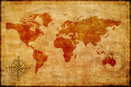 old rustic map: World map on old paper