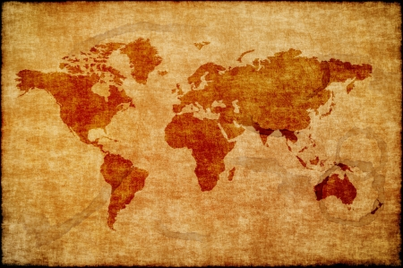 World map on old paper  Stock Photo - 20580475