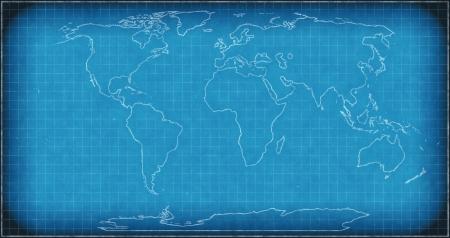 Wereldkaart op blauwdruk Stockfoto