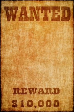 Gezocht poster op oud papier