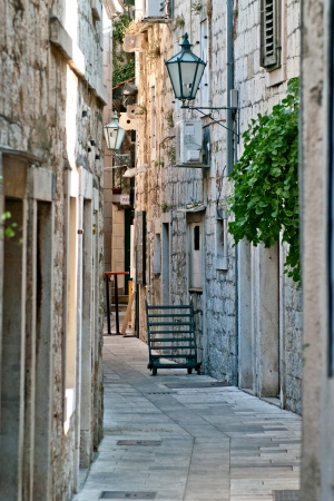 tourist feature: street in the small old town in Croatia