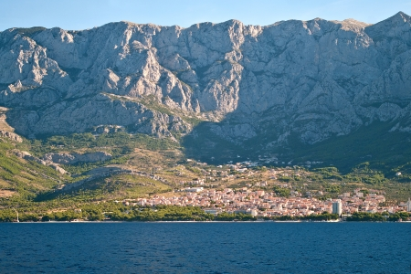 Makarska Riviera  Makarska town under mountains  photo