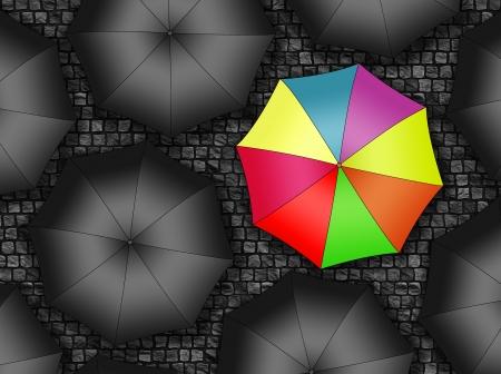 condemnation: Many colors umbrella  Bright umbrella among set of black umbrellas