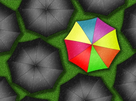 condemnation: Many colors umbrella  Bright umbrella among set of black umbrellas
