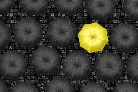 Yellow umbrella  Bright yellow umbrella among set of black umbrellas  Rain drops photo