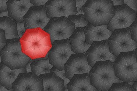 best shelter: Red umbrella  Bright red umbrella among set of black umbrellas