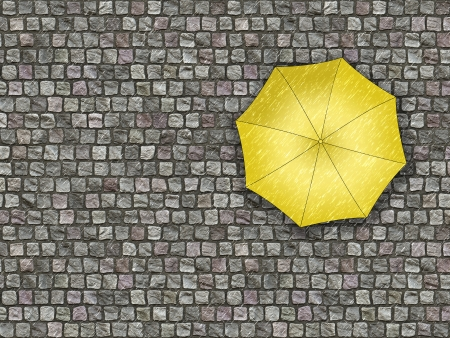condemnation: Man standing under an umbrella waiting for the change of weather  View from the top