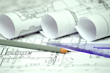 heap of architectural design and project blueprints drawings of house  technical drawings