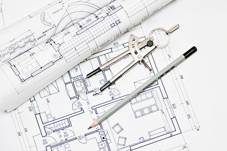 drafting tools: heap of architectural design and project blueprints drawings of house  technical drawings