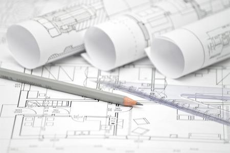 mucchio di progettazione architettonica e progetto cianografie disegni di casa. disegni tecnici.