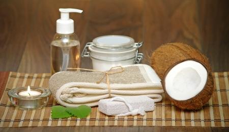 aceite de coco: Set para spa con ingredientes naturales