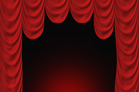 spectacle frame: Theater scene with red curtain