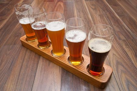 Beer Flight  different kinds of beer photo