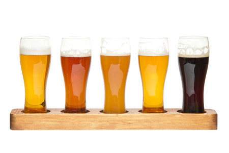 Beer Flight  different kinds of beer Stock Photo - 25651070