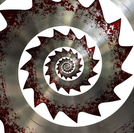 fibonacci: Bloody saw blade. Spiral pattern. Stock Photo