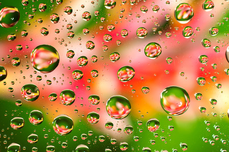 condensate: water droplets as small lenses over a colored background