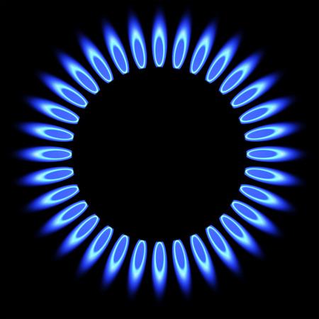 天然ガスの炎。ガス ストーブ バーナー