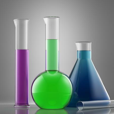 bureta: Equipo de laboratorio de cristal Ciencia con líquido. frascos con líquidos de colores