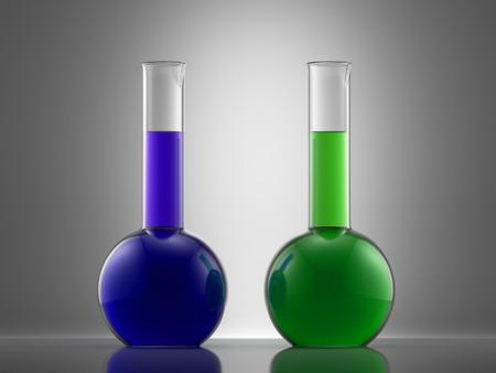 bureta: Equipo de laboratorio de cristal Ciencia con l�quido. frascos con l�quidos de colores
