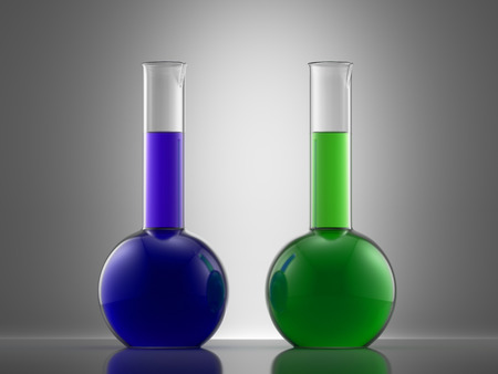 burette: Science laboratory glass equipment with liquid. flasks with color liquid