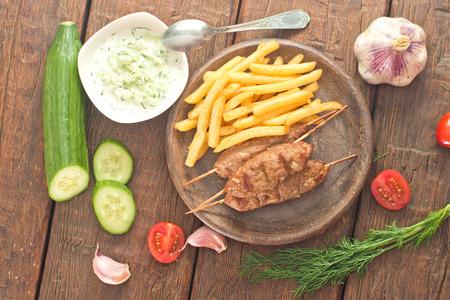 Cevapcici with tzatziki  The traditional Balkan dish
