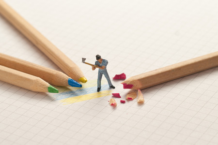 scale model: Small lumberjack sharp pencils. School concept. Stock Photo