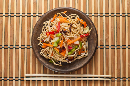sichuan: China noodles with vegetables