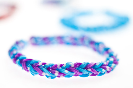 accessorize: Close up of bracelets made with rubber bands