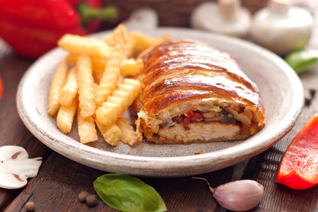 chicken breast in a French pastry photo