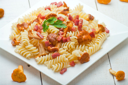 greaves: Fusilli pasta with mushrooms and bacon