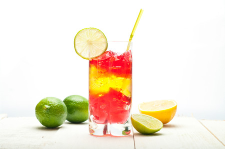 colourful coctail on the white background photo