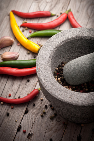 cooking utensil: Stone Mortar on a wooden bench