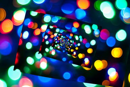 Twisted bokeh like disco lights photo