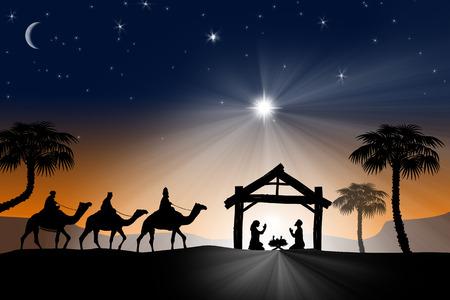 rey: Tradicional cristiano de la Navidad belén con los tres reyes magos