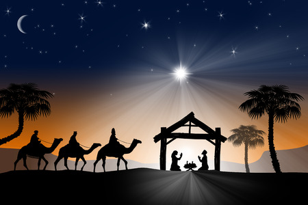 Traditional Christian Christmas Nativity scene with the three wise men Stok Fotoğraf - 34260640