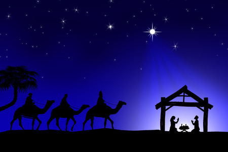 Traditional Christian Christmas Nativity scene with the three wise men Foto de archivo