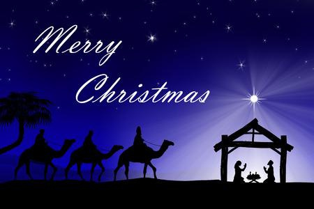 nascita di gesu: Christian tradizionale presepe di Natale con i tre saggi