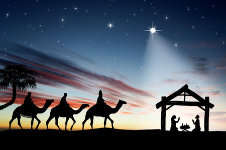 three animals: Traditional Christian Christmas Nativity scene with the three wise men Stock Photo