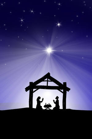 three palm trees: Traditional Christian Christmas Nativity scene with the three wise men Stock Photo