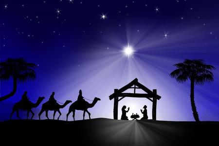 3 つの賢明な男性と伝統的なキリスト教のクリスマスのキリスト降誕のシーン 写真素材