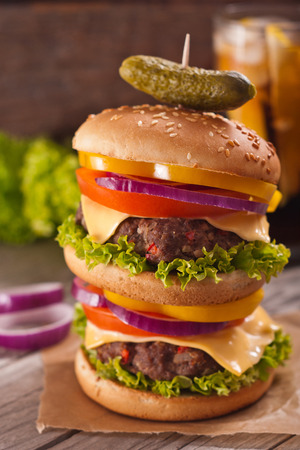 doubled: Homemade double-decker burger Stock Photo