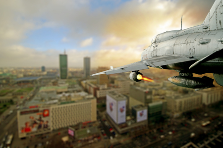 the air attack: The aircraft attacked the city. Coating.