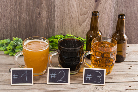 ipa: Craft Beer Tasting (Wood Background)