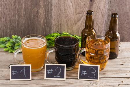 wood craft: Craft Beer Tasting (Wood Background)