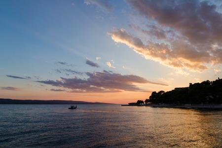 orange sunset: Beautiful orange sunset in Croatia