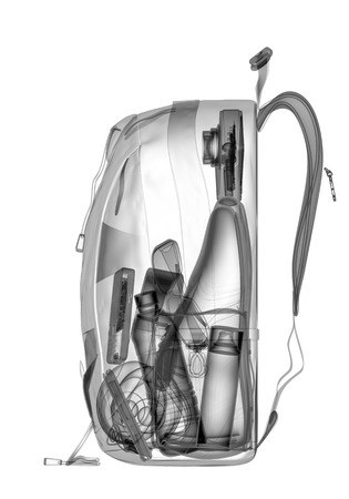 Backpacking under xray on security control. 3D illustration