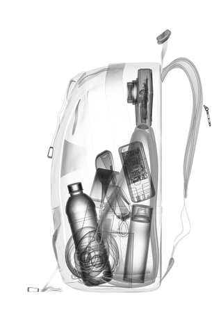 x ray: Backpacking under xray on security control. 3D illustration