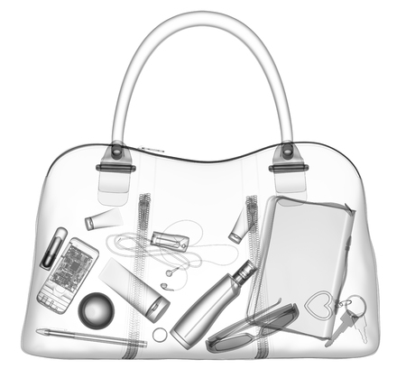 Briefcase under xray on security control. 3D illustration