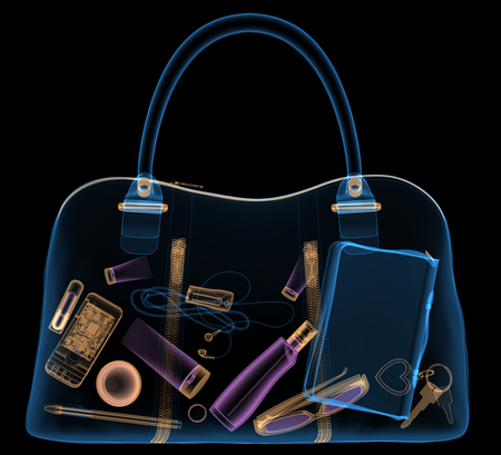 x ray equipment: Briefcase under xray on security control. 3D illustration