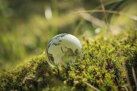 Concepto de medio ambiente, globo de cristal en la hierba